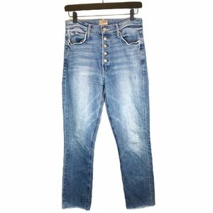 MOTHER Pixie Dazzler Ankle Fray Straight Leg Jeans